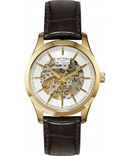 Rotary GS90526-06 Mens Les Originales Automatic Skeleton Gold Brown Watch
