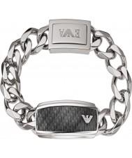 Emporio Armani EGS1688040 Mens Signature Carbon Fiber Silver Steel ID Bracelet
