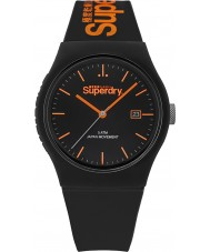 Superdry SYG168OB Urban Black Silicone Strap Watch with Orange Print