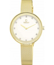 Obaku V161LXGIMG Ladies Stone Set Gold Plated Mesh Bracelet Watch