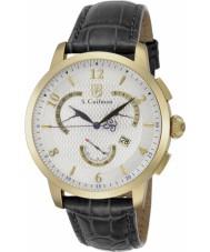 S Coifman SC0230 Mens Black Leather Chronograph Watch