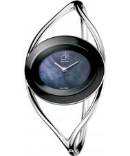Calvin Klein Ladies Delight Black Silver Small Bangle Watch