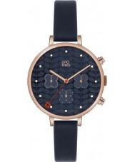 Orla Kiely OK2042 Ladies Ivy Chronograph Navy Leather Strap Watch