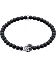 Thomas Sabo A1270-159-11-L19 Mens Obsidian Bracelet with Black Zirconia Skull