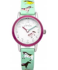 Joules JS011 Girls Turquoise Horse Printed Silicone Watch