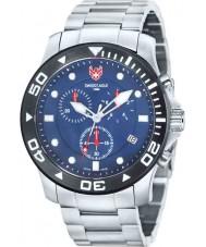 Swiss Eagle SE-9001-22 Mens Dive Sea Bridge Silver Chronograph Watch