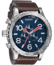 Nixon 51-30 Chrono Leather Blue Brown Watch