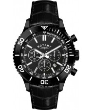 Rotary GS00155-04 Mens Black IP Chronograph Leather Strap Watch
