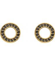Emozioni DE407 Ladiess Yellow Gold Plated Nero Saturno Earrings