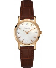 Bulova 97P105 Ladies Diamond Brown Leather Strap Watch