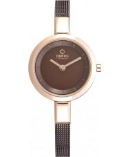Obaku Ladies Rose Gold Skinny Brown Mesh Bracelet Watch