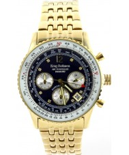 Krug Baümen 400104DS Air Traveller Diamond Blue Dial Gold Plated Strap