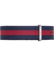 Daniel Wellington DW00200015 Mens Classic Oxford 40mm Silver Blue and Red Nylon Spare Strap