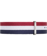 Daniel Wellington DW00200017 Mens Classic Cambridge 40mm Silver Blue White and Red Nylon Spare Strap