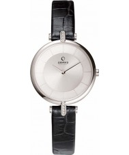 Obaku V168LECIRB Ladies Silver Tone Stone Set Black Leather Strap Watch