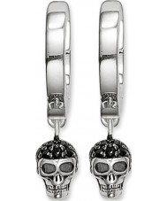 Thomas Sabo CR573-051-11 Ladies Silver Skull Hinged Hoop Earrings