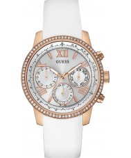 Guess W0616L1 Ladies Sunrise White Silicone Strap Watch