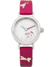 Joules JS017 Girls Rotating Disc Pink Horse Printed Silicone Watch