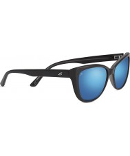 Serengeti Sophia Shiny Black Polarized 555nm Blue Mirror Sunglasses