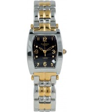 Krug Baümen 1965DMT Tuxedo Two Tone 4 Diamond Black Dial Steel-Two Tone Strap