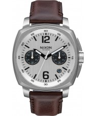 Nixon A1073-1113 Mens Charger Brown Leather Chrono Watch