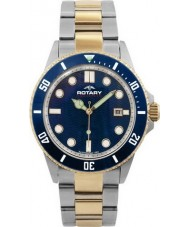 Rotary AGB00027-W-05 Mens Aquaspeed Blue Steel Gold Watch