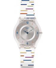 Swatch SFE108 Ladies Thin Liner White Silicone Strap Watch