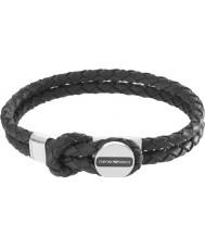 Emporio Armani EGS2178040 Mens Signature Black Leather Bracelet