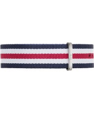 Daniel Wellington DW00200016 Mens Classic Canterbury 40mm Silver Blue White and Red Nylon Spare Strap