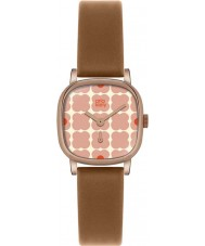 Orla Kiely OK2056 Ladies Cecelia Pink Flowery Tan Leather Strap Watch