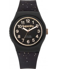 Superdry SYL167B Ladies Urban Black Silicone Strap Watch with Rose Gold Glitter