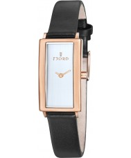 Fjord FJ-6009-04 Ladies Gyda 2 Hand Rose Gold Black Watch