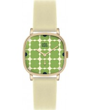 Orla Kiely OK2058 Ladies Cecelia Green Flowery Cream Leather Strap Watch