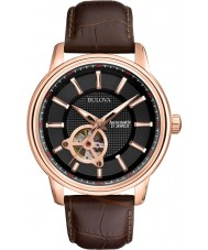 Bulova 97A109 Mens Rose Gold Brown Mechanical Watch