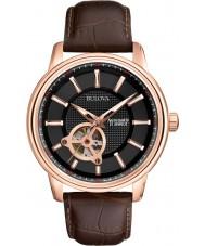 Bulova 97A109 Mens Rose Gold Brown Mechanical Watch