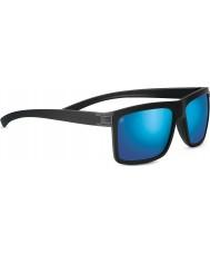 Serengeti Brera Sanded Black Polarized 555nm Blue Mirror Sunglasses
