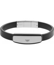 Emporio Armani EGS2186040 Mens Signature Black Leather Bracelet