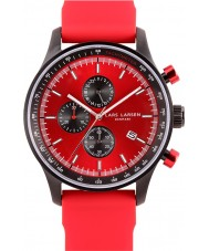 Lars Larsen Mens Storm Steel Silicone Red Watch