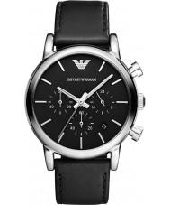Emporio Armani AR1733 Mens Classic Chronograph Black Leather Strap Watch