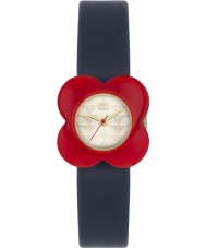 Orla Kiely OK2062 Ladies Poppy Red Flower Case Navy Leather Strap Watch