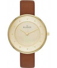 Skagen SKW2138 Ladies Gitte Gold Plated Brown Leather Strap Watch