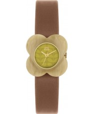 Orla Kiely OK2066 Ladies Poppy Pale Horn Flower Case Tan Leather Strap Watch
