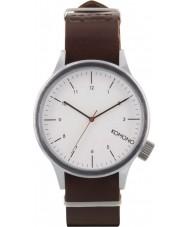 Komono KOM-W1903 Mens Magnus Silver Burgundy Watch