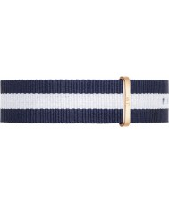 Daniel Wellington DW00200004 Mens Classic 40mm Glasgow Rose Gold Blue and White Nylon Spare Strap