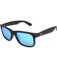 Ray-Ban RB4165 51 Justin Black Rubber 622-55 Blue Mirror Sunglasses
