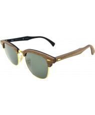 RayBan RB3016M 51 Clubmaster Wood Walnut Rubber Black 118158 Polarized Sunglasses