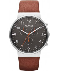 Skagen SKW6099 Mens Ancher Chronograph Brown Leather Strap Watch