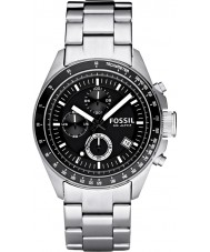Fossil CH2600 Mens Decker Black Silver Chronograph Watch
