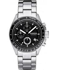 Fossil CH2600 Mens Decker Black Silver Chronograph Watch