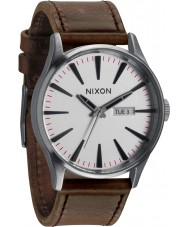 Nixon A105-1113 Sentry Leather Silver Watch
